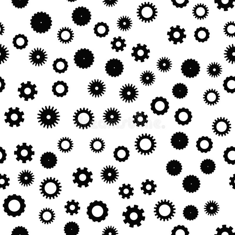 Cog wheel seamless pattern. Clockwork, technological or industrial theme. Flat vector background in black and white stock illustration