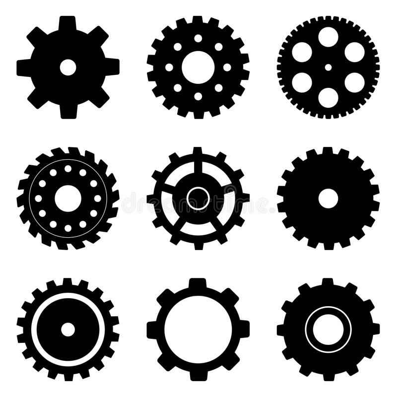 Cog Wheel Set. A set of cog wheels in different styles