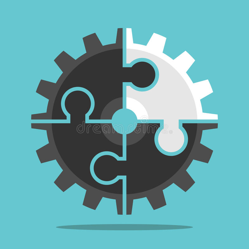 Cog wheel, unique puzzle. Black cog wheel with white unique missing puzzle piece on turquoise blue background. Leadership, uniqueness and teamwork concept. Flat royalty free illustration