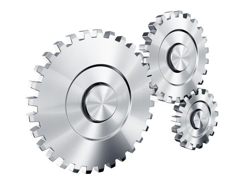 Cog wheels. 3d rendering of 3 cog wheels stock illustration