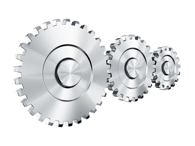Cog wheels. 3d rendering of 3 cog wheels royalty free illustration