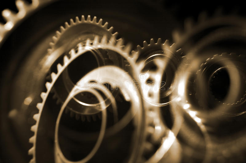 Cog wheels. Superimposed multiple layered views of cog wheels stock photography
