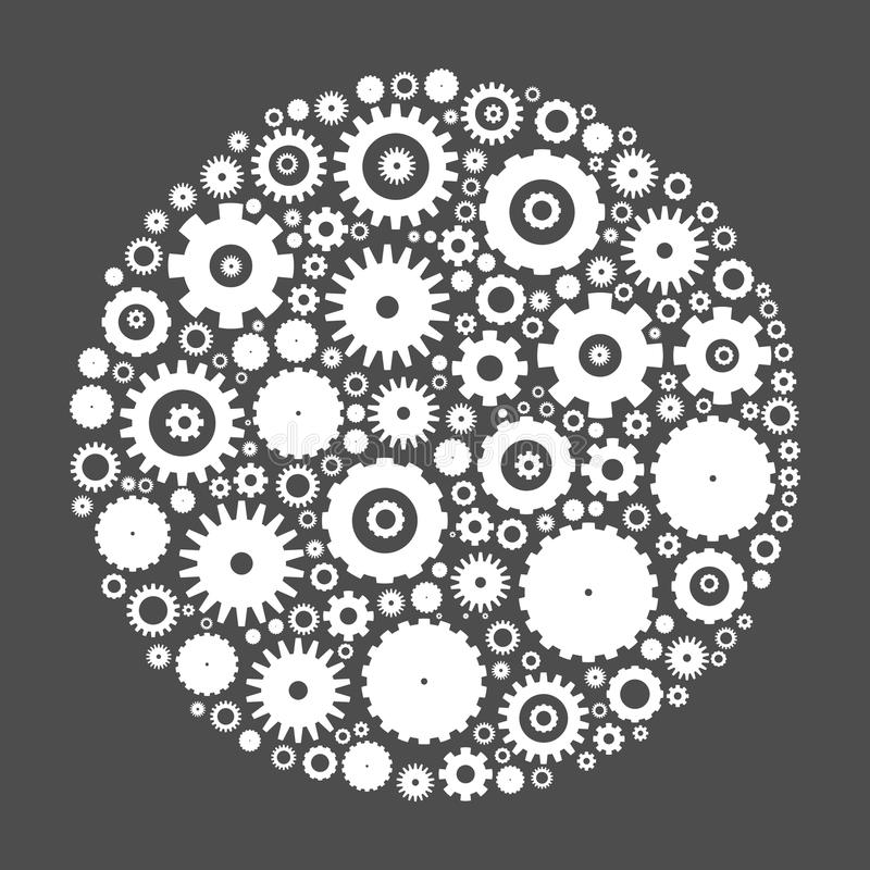 Cog wheels arranged in circle. Shape. White abstract vector illustration on grey background vector illustration