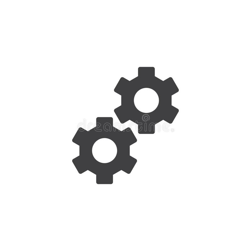 Cog wheels icon vector. Filled flat sign, solid pictogram isolated on white. Gear, settings, preferences symbol, logo illustration stock illustration