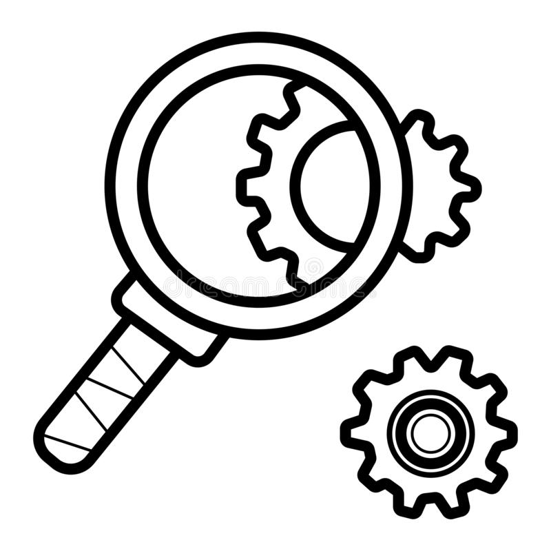 Cog wheels inspection flat icon. Configuration vector illustration vector illustration
