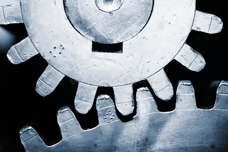Cog wheels. Large cog wheels in the motor royalty free stock images