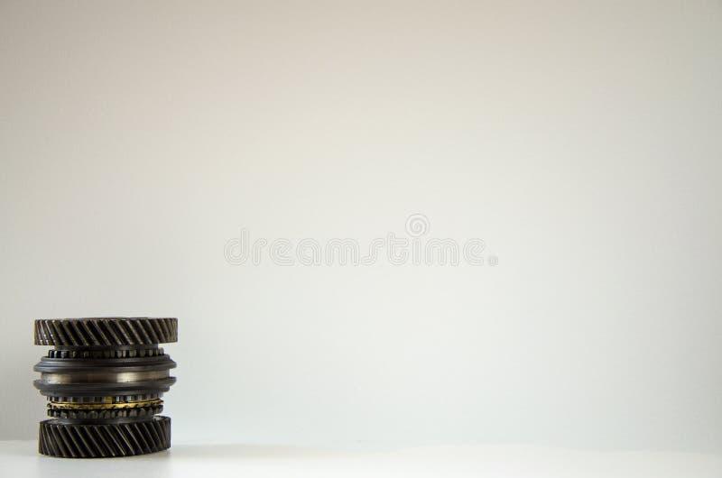Cog wheels in the motor. Mechanism royalty free stock photo