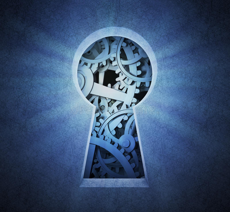 Cog wheels seen through a keyhole. Gears and cog wheels seen through a keyhole royalty free stock images