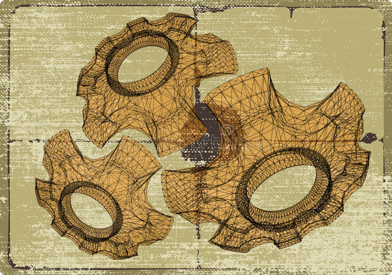 Cog wheels structures. Mechanics project sketches. stock illustration