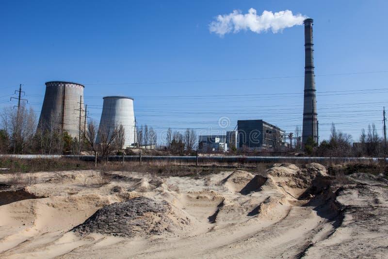 Cogeneratieinstallatie in Kyiv, de Oekraïne stock foto's