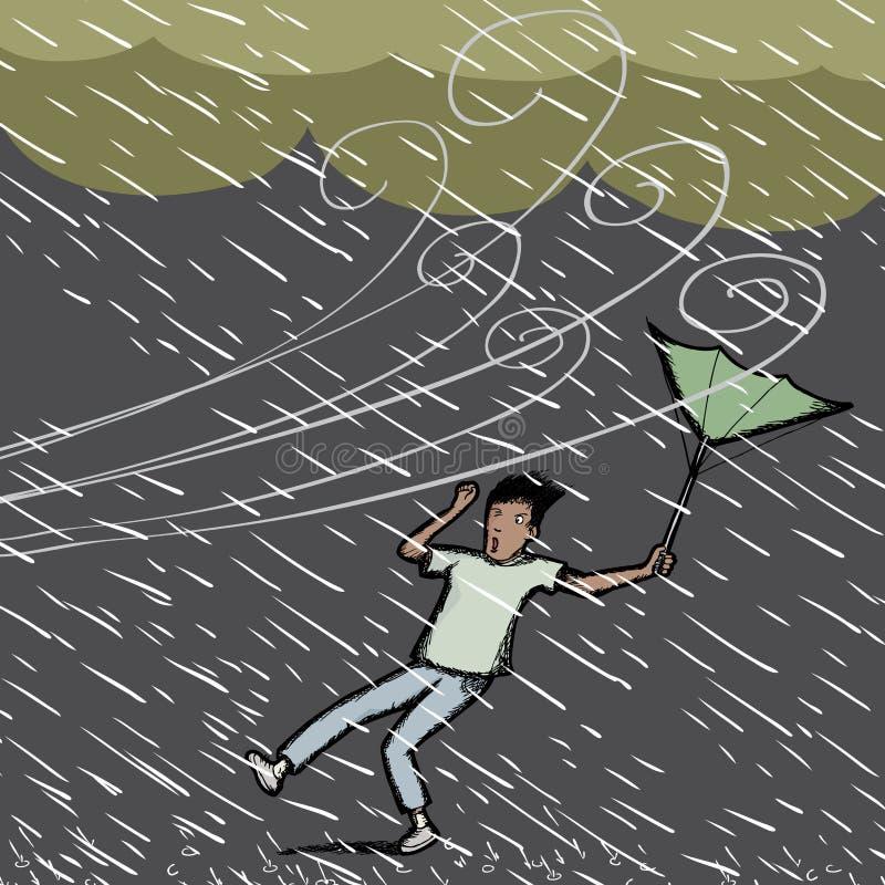 Cogido en lluvia ilustración del vector