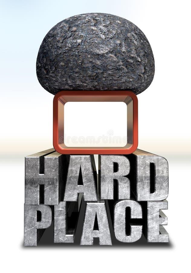 Cogido entre una roca y un lugar duro ilustración del vector