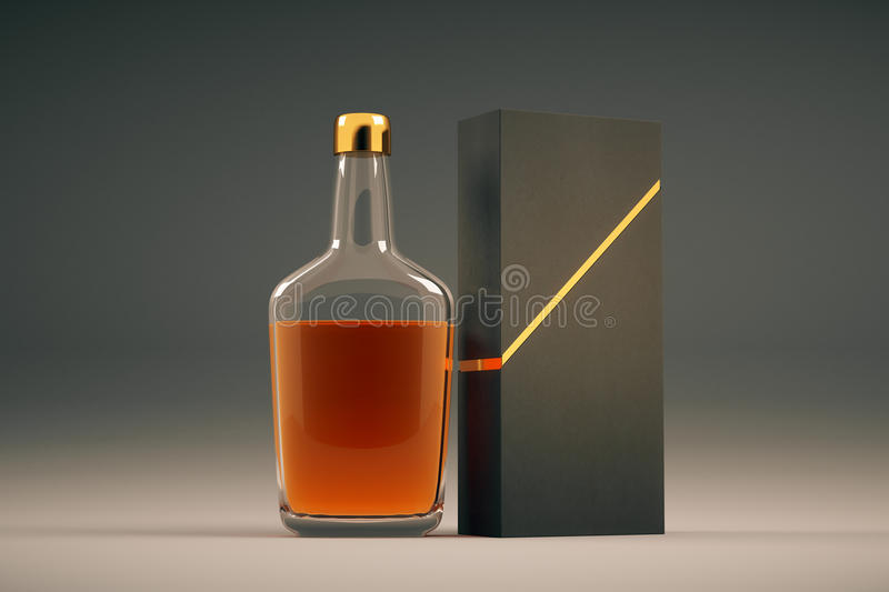 Cognac bottle and packaging. Full transparent cognac bottle and packaging without lables. Mock up, 3D Rendering stock illustration