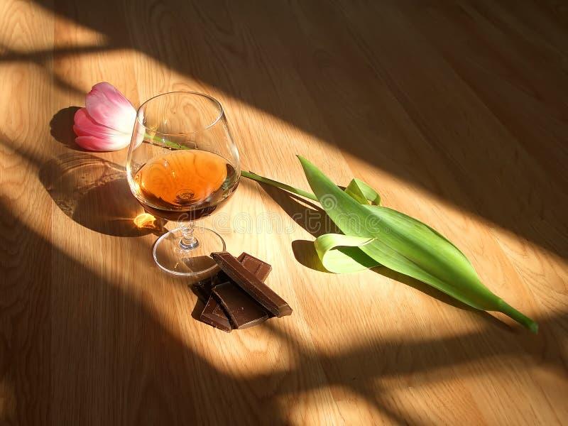 Cognac chocolate flower royalty free stock photo