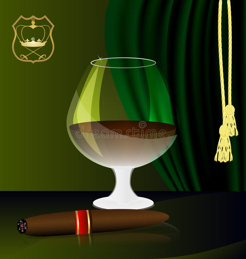 Cognac and cigar. Against the background of the emblem and green drapes have a glass of brandy and a cigar stock illustration