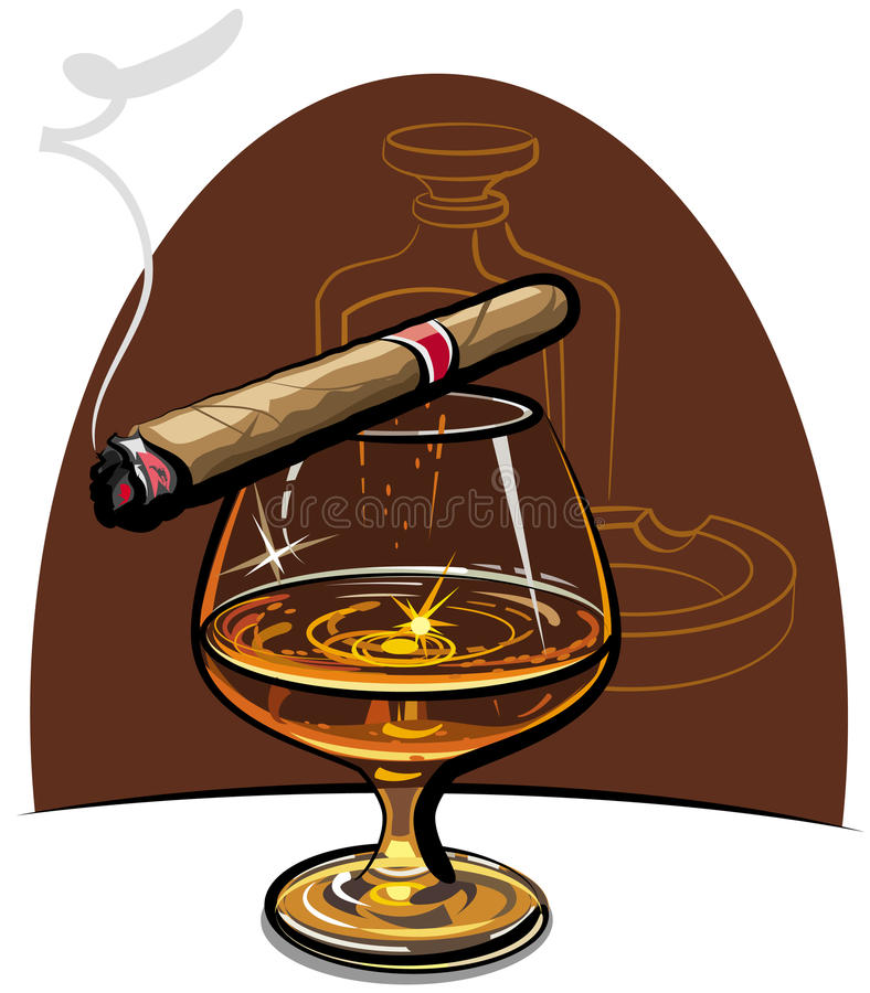 Cognac and cigar. Glass of cognac and lit cigar on the table royalty free illustration