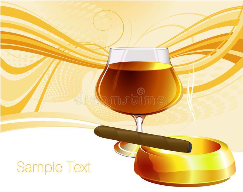 Cognac and cigar. Luxury vector template with cognac and cigar vector illustration