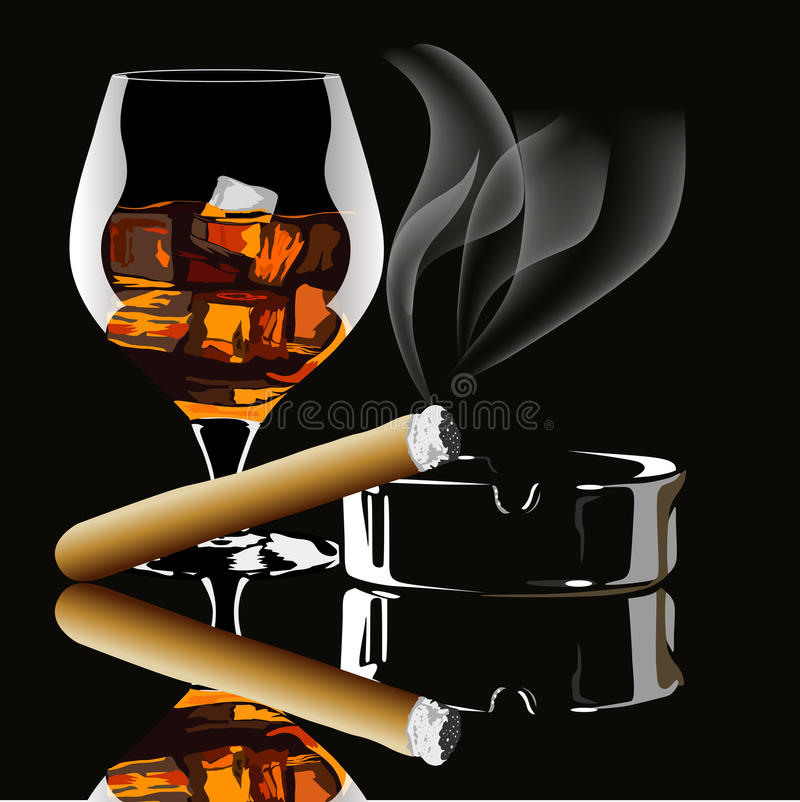 Cognac and cigar with smoke. On black background stock illustration