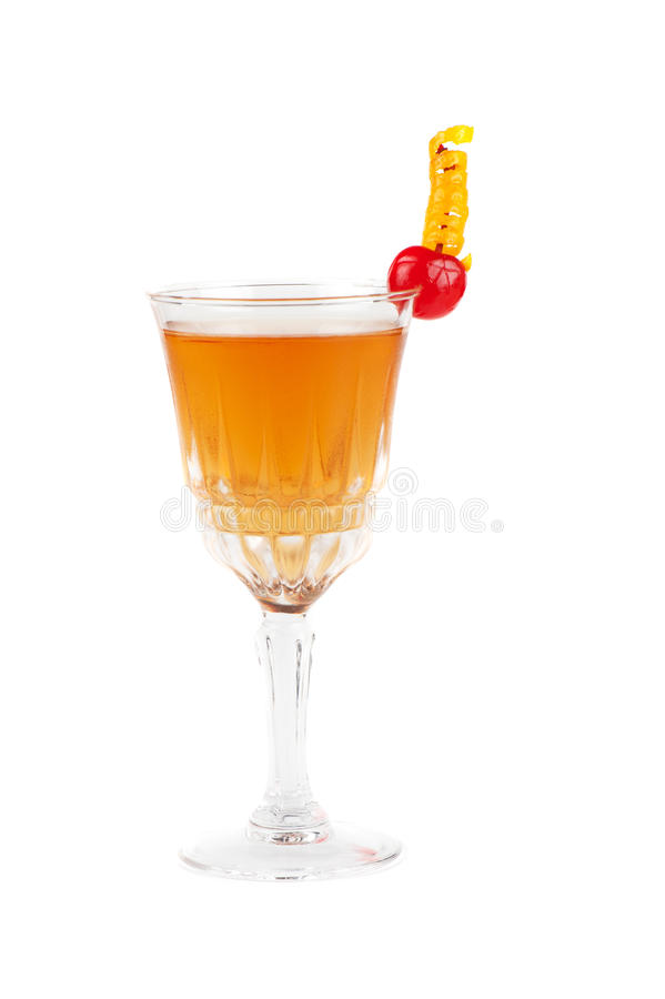 Cognac cocktail. With cherry on white stock photography