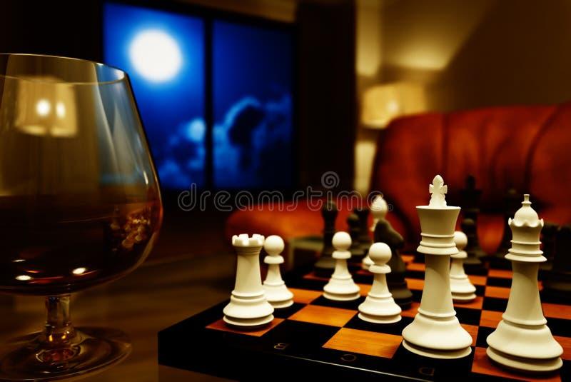 Cognac en schaak stock afbeeldingen