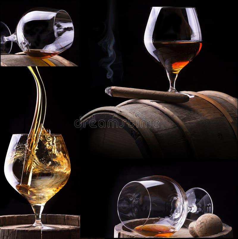 Cognac en Sigaar op zwarte met vatcollage stock afbeelding