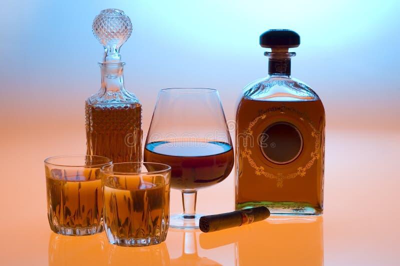 Cognac en wisky stock afbeelding