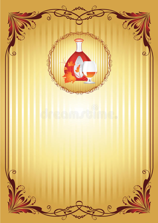 The cognac engraving on wood. Cognac set of the brandy glass, a bottle of cognac, grape leaves, engraved with ornament on wooden board. Vector illustration stock illustration