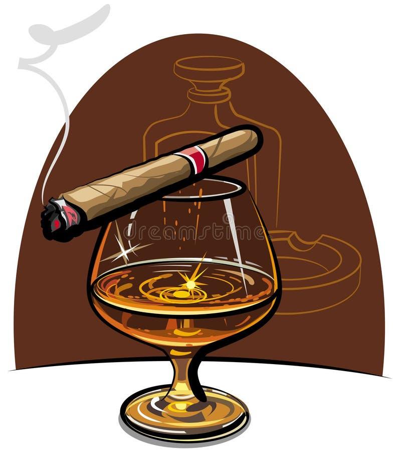 Cognac et cigare illustration libre de droits