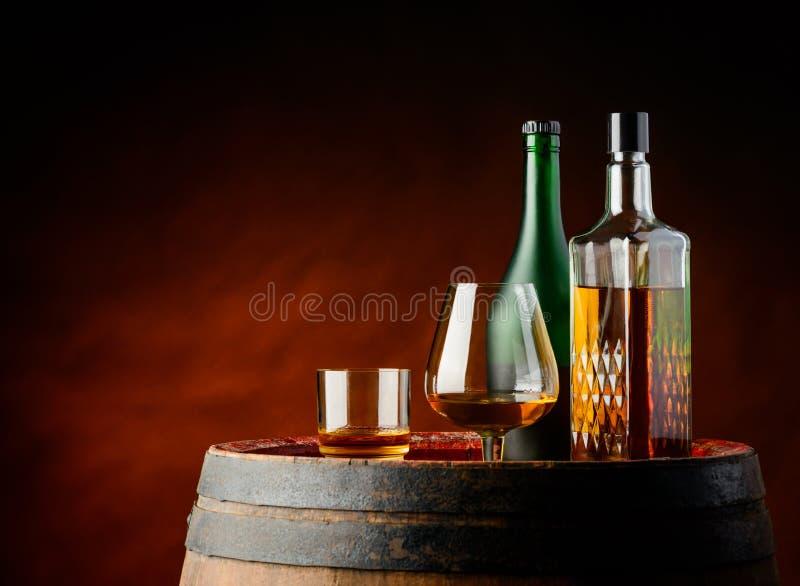 Cognac et whiskey photographie stock