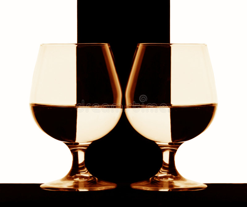 Cognac glasses royalty free stock images