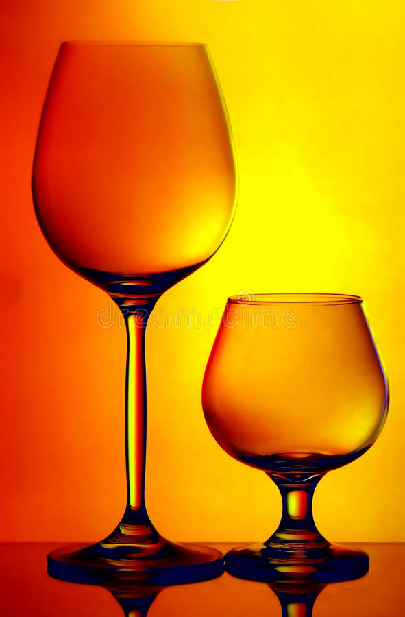 Cognac and wine glass stock photos