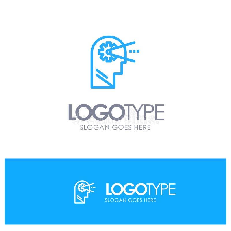 Cognitief, Proces, Mening, leid Blauw Overzicht Logo Place voor Tagline stock illustratie