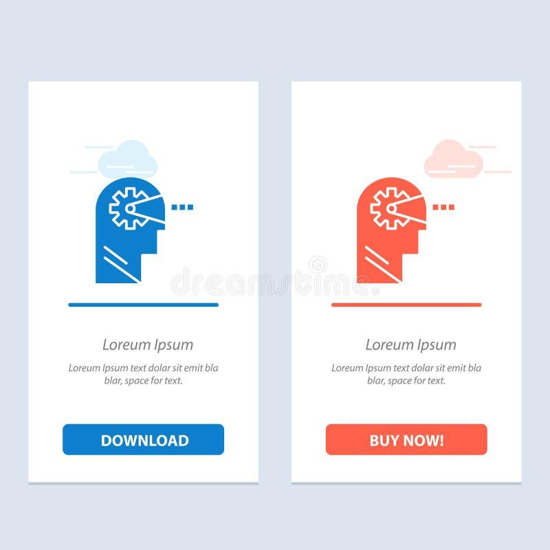 Cognitief, Proces, Mening, leid Blauwe en Rode Download en koop nu de Kaartmalplaatje van Webwidget stock illustratie