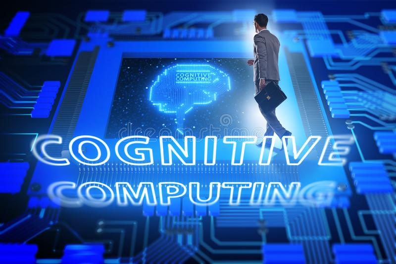 Cognitive computing concept as future technology with businessma royalty free stock images