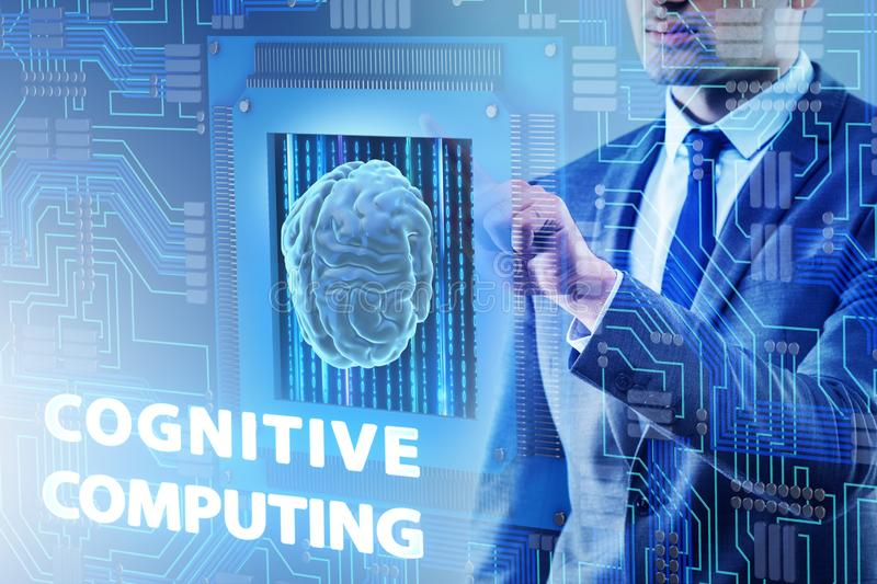 The cognitive computing concept as modern technology stock illustration