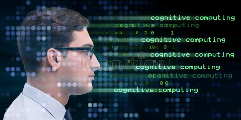 The cognitive computing and machine learning concept. Cognitive computing and machine learning concept royalty free stock photo