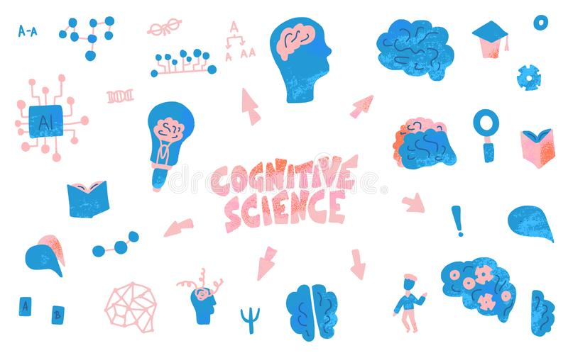 Cognitive science concept. Set of vector elements. Cognitive science concept. Set of vector elements in doodle style royalty free illustration