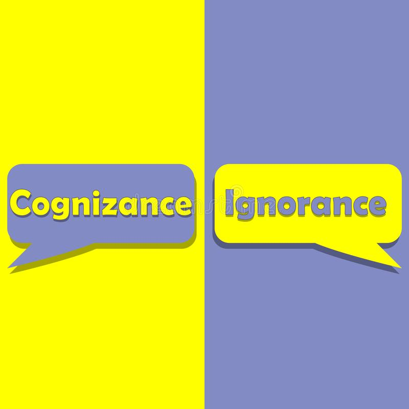 Cognizance or Ignorance on word on education, inspiration and business motivation. Concepts. Vector illustration. EPS 10 vector illustration