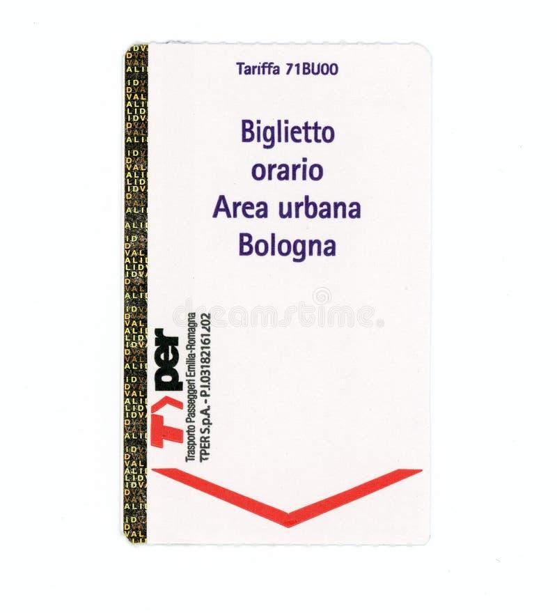 Cogodzinny bilet dla Bologna obszaru miejskiego w Bologna zdjęcia royalty free
