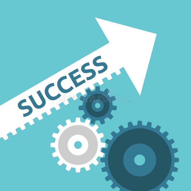 Cogs двигая стрелку успеха иллюстрация вектора