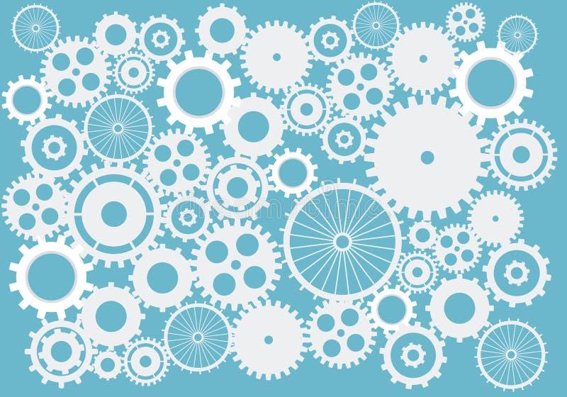 Cogs и шестерни абстрактный вектор предпосылки в сини на изолированной предпосылке иллюстрация вектора