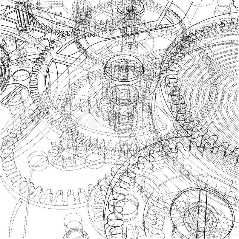 Cogs и шестерни часов иллюстрация вектора