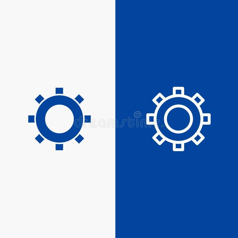 Cogs, шестерня, устанавливающ значка линии и глифа знамени твердый значок линии и глифа знамя голубого твердого голубое иллюстрация вектора