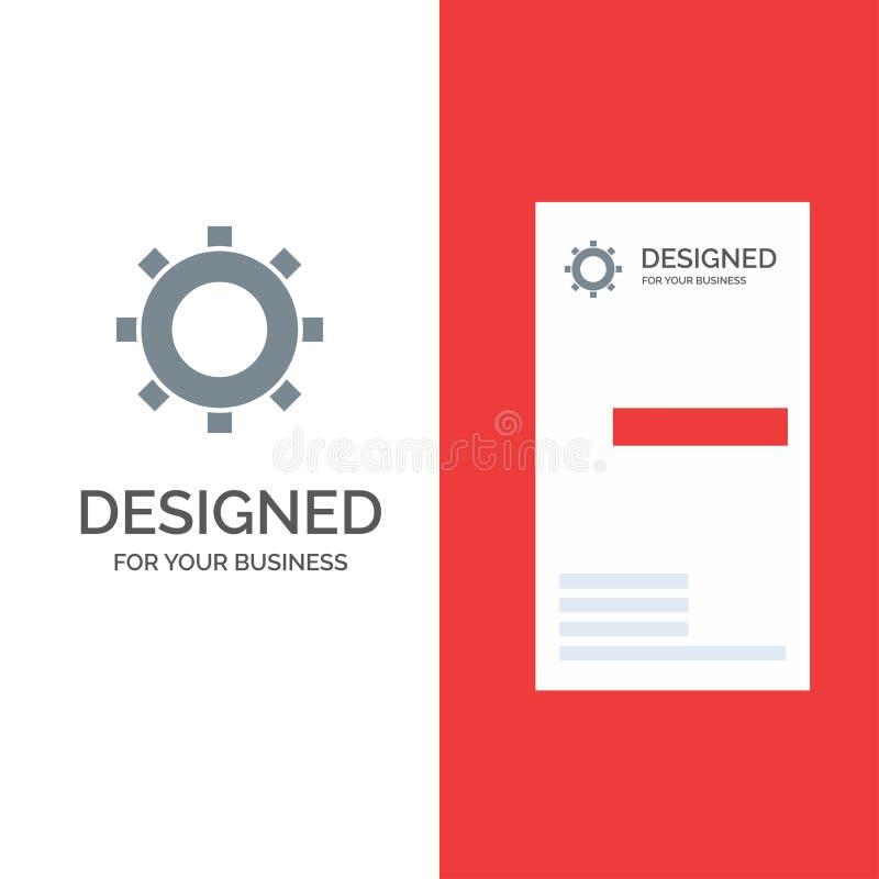 Cogs, шестерня, устанавливающ серые дизайн логотипа и шаблон визитной карточки иллюстрация штока