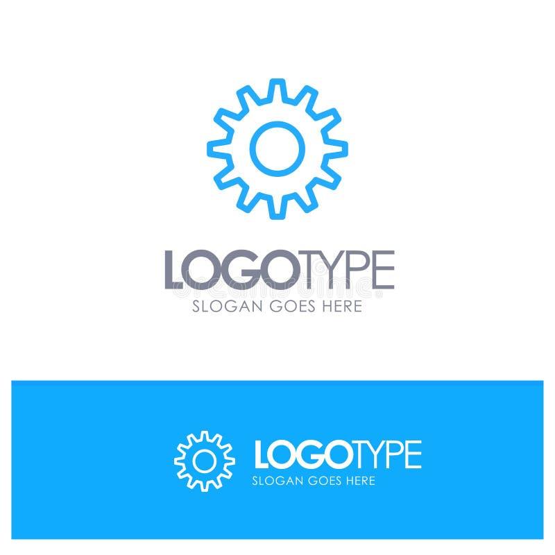 Cogs, шестерня, устанавливая голубой логотип плана с местом для слогана иллюстрация вектора