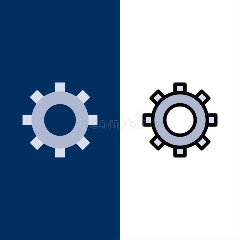 Cogs, шестерня, устанавливая значки Квартира и линия заполненный значок установили предпосылку вектора голубую иллюстрация вектора