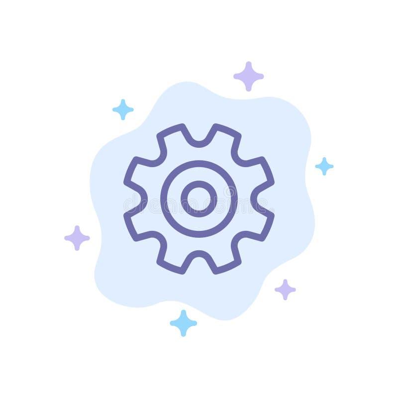 Cogs, шестерня, установка, значок колеса голубой на абстрактной предпосылке облака иллюстрация вектора
