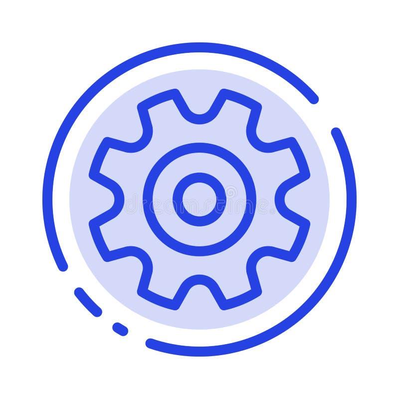 Cogs, шестерня, установка, линия значок голубой пунктирной линии колеса иллюстрация штока
