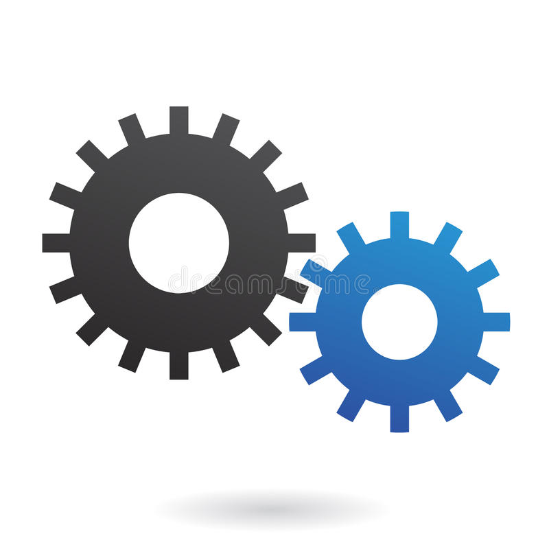 Cogs. Blue and black cogs on white backround stock illustration