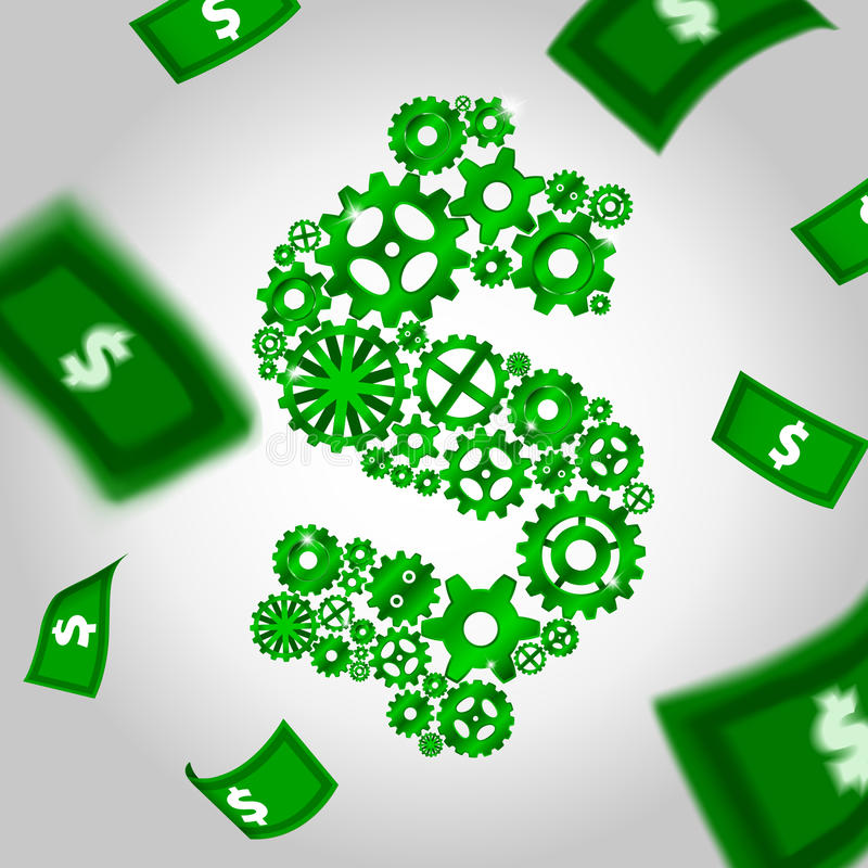 Free Cogs And Falling Money Royalty Free Stock Photography - 27092807